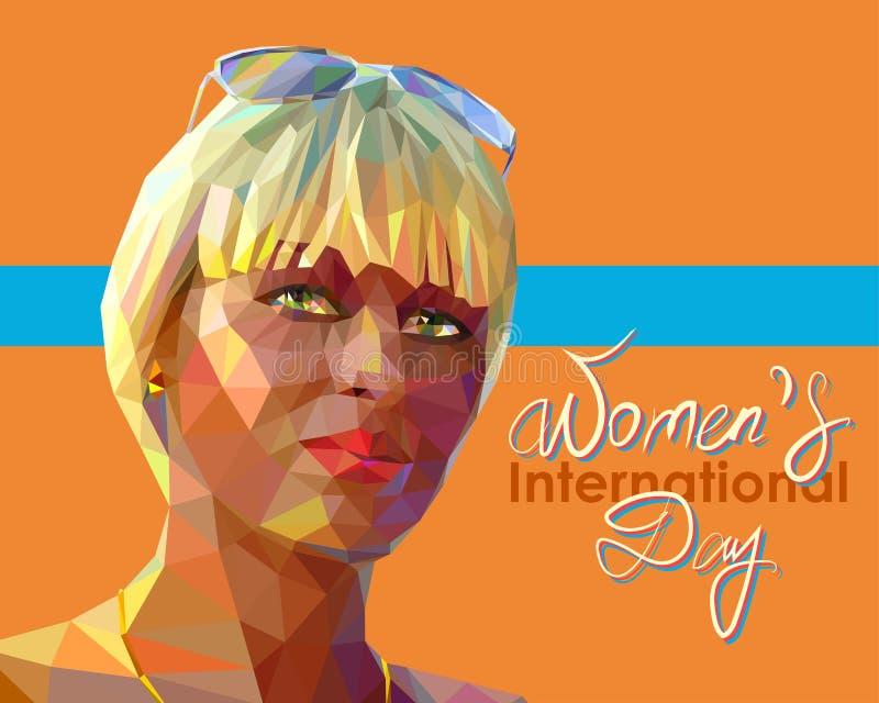 Retrato de una mujer rubia atractiva joven ilustración del vector