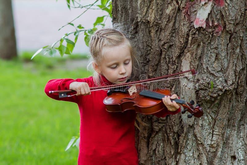 Retrato de una niña que toca el violín en un parque en un día de verano foto de archivo