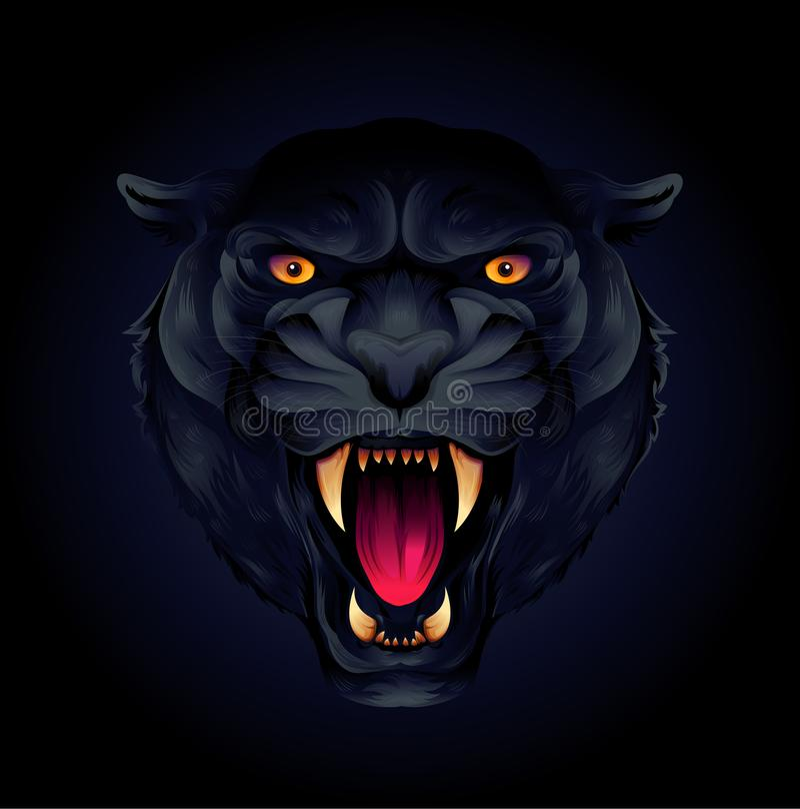 Retrato de una pantera principal o negra del tigre en un fondo negro ilustración del vector
