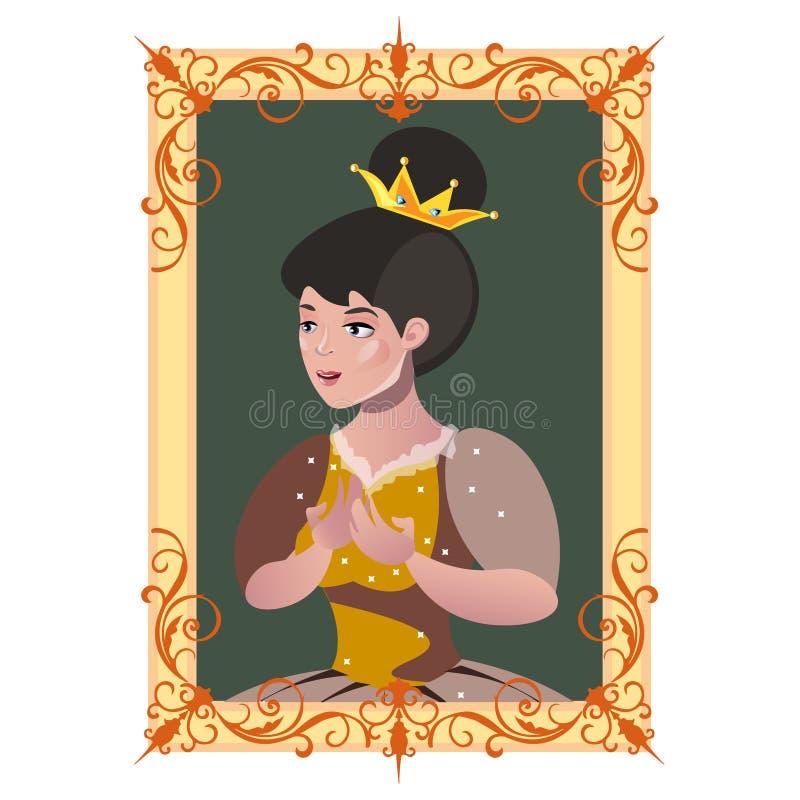 Retrato de una princesa en un marco libre illustration