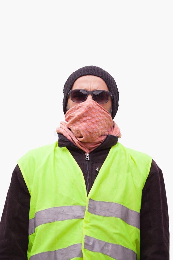 retrato de una protesta amarilla del activista pol?tico del chaleco imagen de archivo libre de regalías