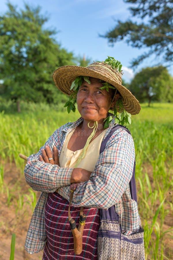 Retrato de una señora burmese no identificada del granjero fotografía de archivo libre de regalías