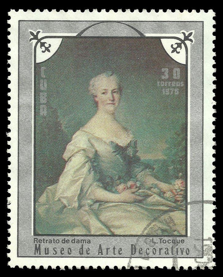 Retrato de una señora de Louis Tocque foto de archivo