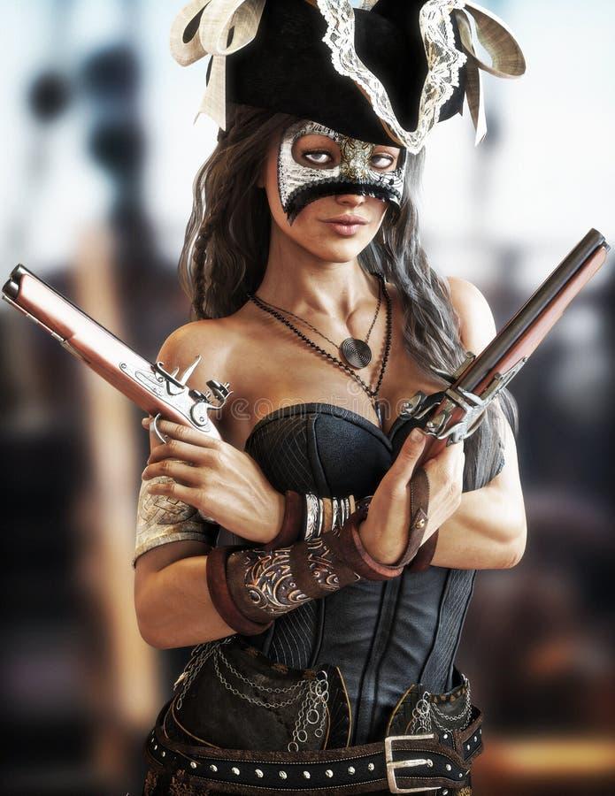 Retrato de una situación femenina del pirata atractivo en la cubierta de su nave que lleva un corsé y pistolas reservadas del más ilustración del vector