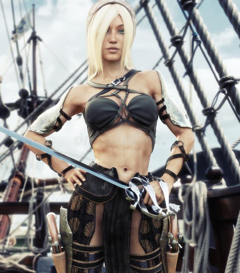Retrato de una situación femenina del pirata rubio en la cubierta de su nave con la espada a disposición stock de ilustración