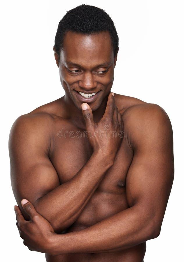 Sonrisa atlética del hombre del afroamericano fotografía de archivo