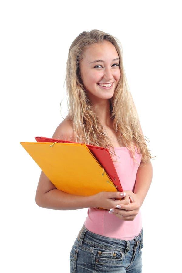 Retrato de una sonrisa hermosa de la estudiante del adolescente foto de archivo libre de regalías