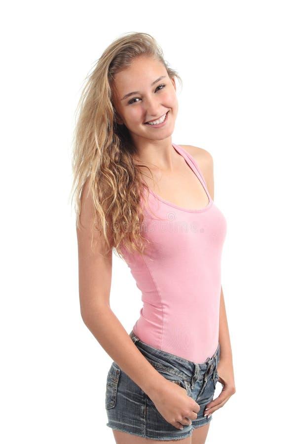 Retrato de una sonrisa hermosa de la estudiante del adolescente fotos de archivo libres de regalías