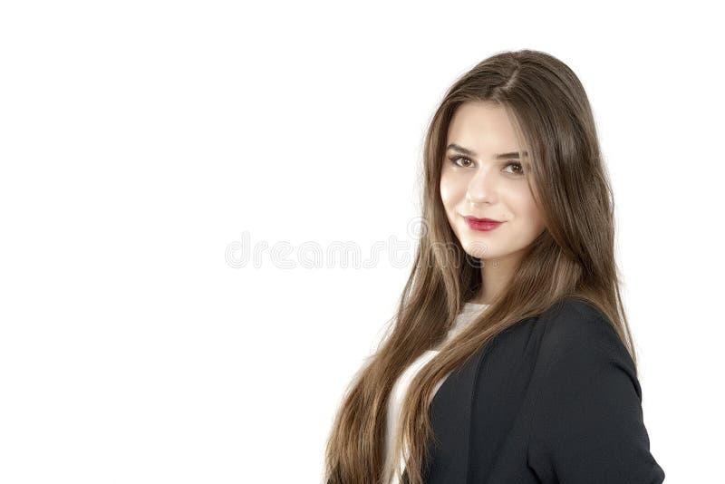 Retrato de una sonrisa joven linda de la mujer de negocios fotos de archivo libres de regalías