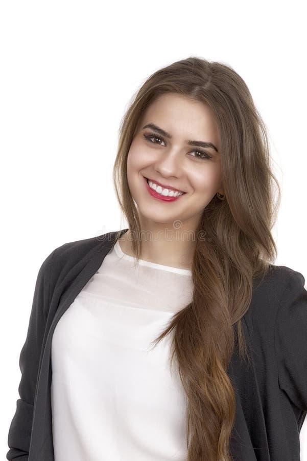 Retrato de una sonrisa joven linda de la mujer de negocios fotografía de archivo