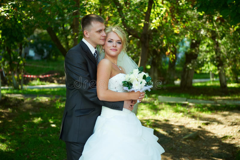 Retrato de uns noivos bonitos imagem de stock