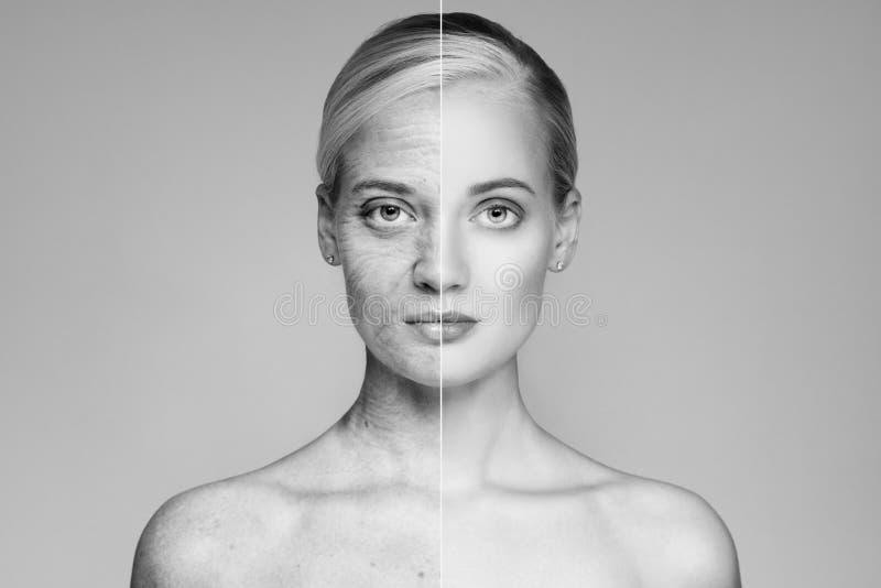 Retrato de velho e da jovem mulher Conceito do envelhecimento imagens de stock