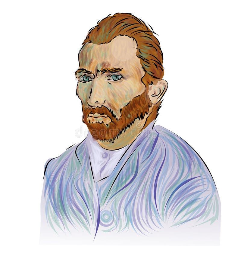 Retrato de Vincent van Gogh Pintor holandês famoso do cargo-impressionista Aperfeiçoe para a decoração tal como cartazes, arte da ilustração royalty free