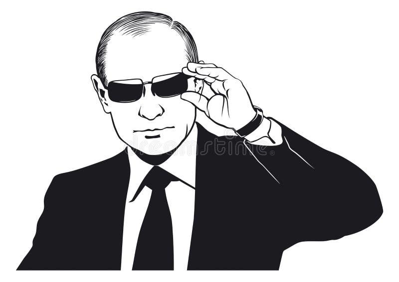 Retrato de Vladimir Putin stock de ilustración