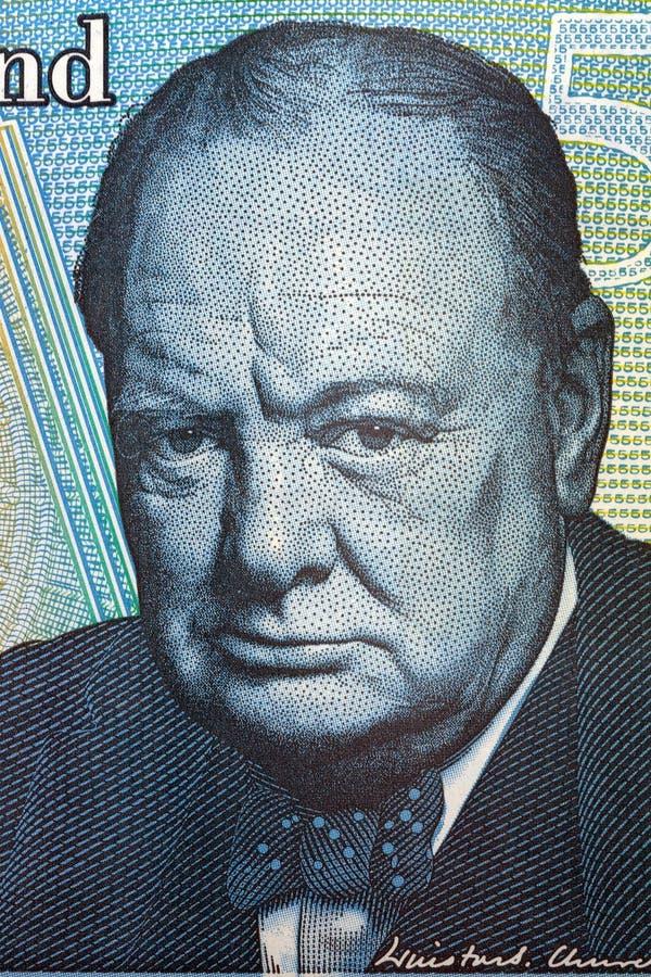 Retrato de Winston Churchill do dinheiro britânico foto de stock