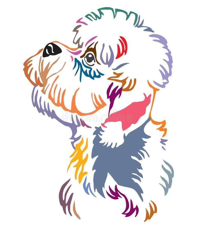 Retrato decorativo colorido da ilustração do vetor do cão de Dandie Dinmont Terrier ilustração stock