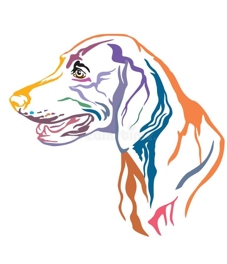 Retrato decorativo colorido da ilustração do vetor do cão de Weimaraner ilustração stock