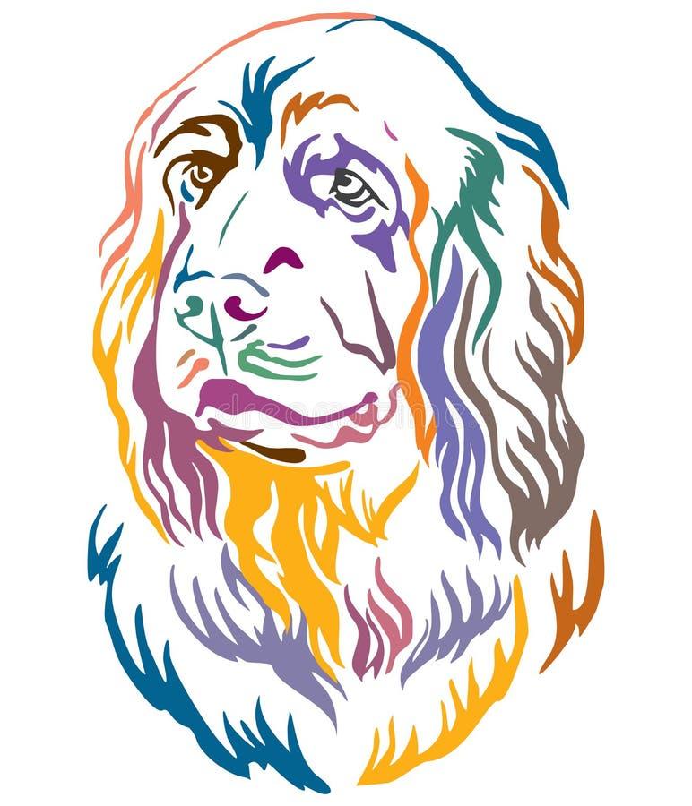 Retrato decorativo colorido da ilustração do vetor do cão do spaniel de Sussex ilustração do vetor