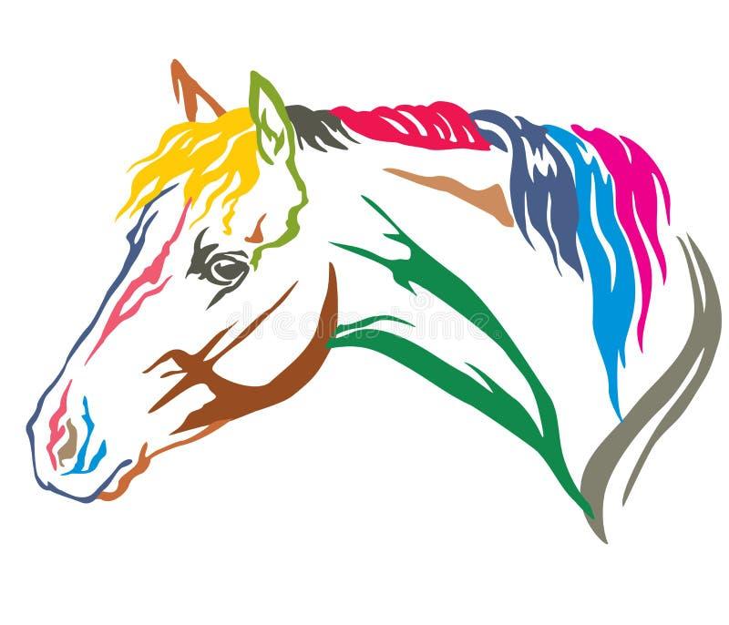 Retrato decorativo colorido da ilustração 9 do vetor do cavalo ilustração stock