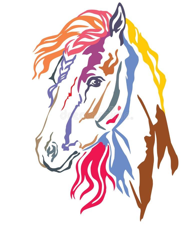 Retrato decorativo colorido da ilustração 1 do vetor do cavalo ilustração royalty free