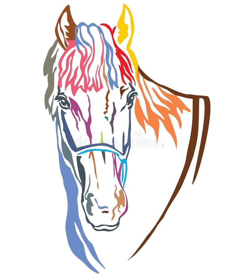 Retrato decorativo colorido da ilustração 3 do vetor do cavalo ilustração royalty free