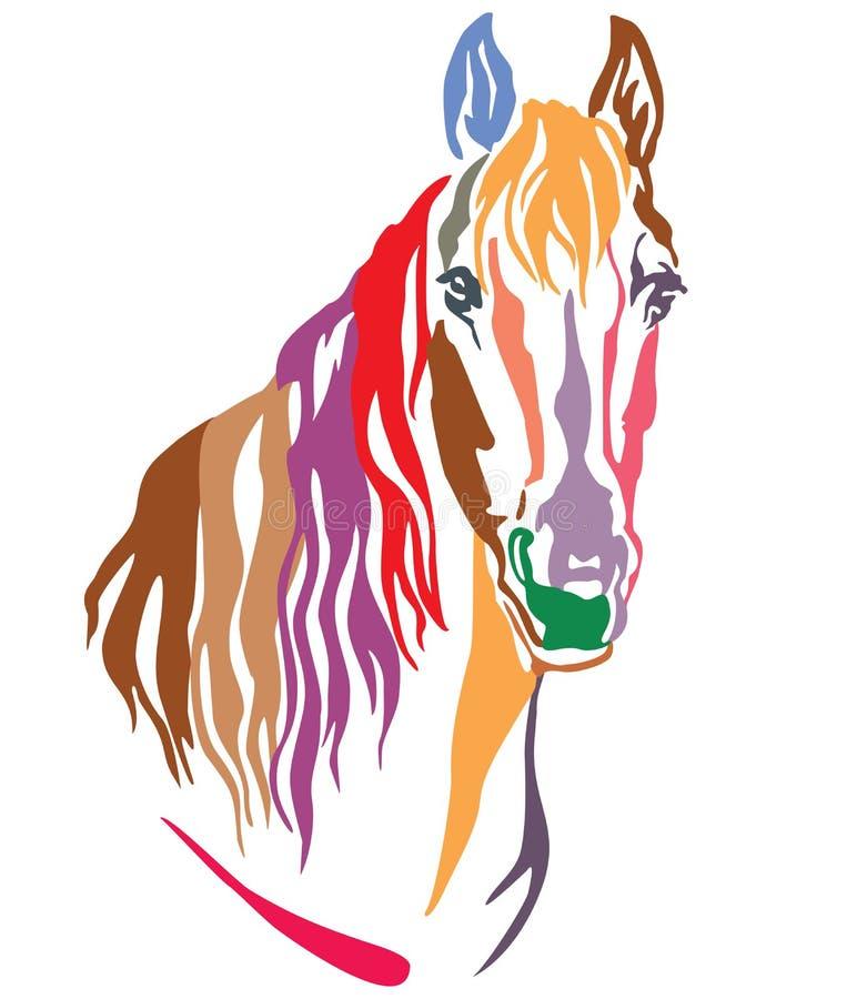 Retrato decorativo colorido da ilustração 4 do vetor do cavalo ilustração stock