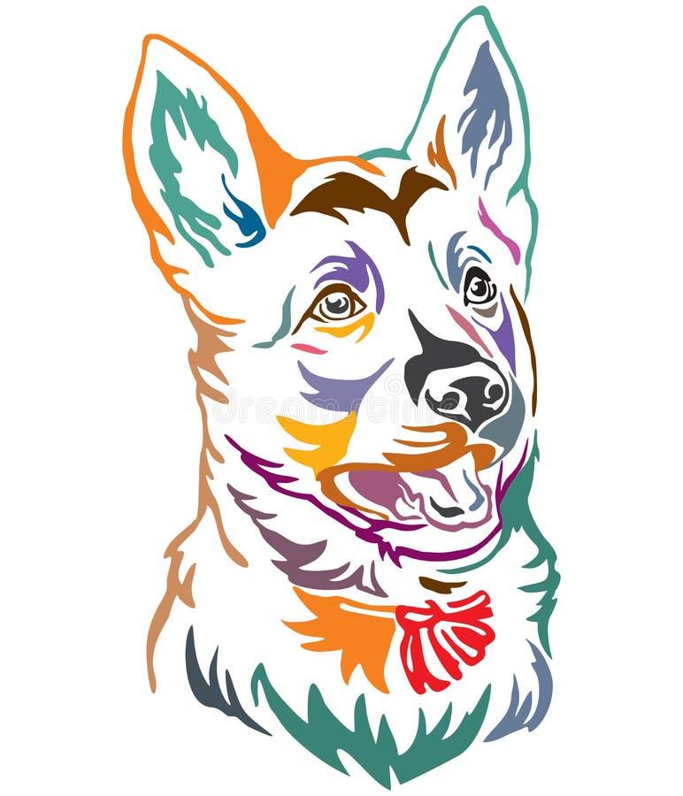 Retrato decorativo colorido da ilustração do vetor de Dog do pastor alemão do cachorrinho ilustração do vetor