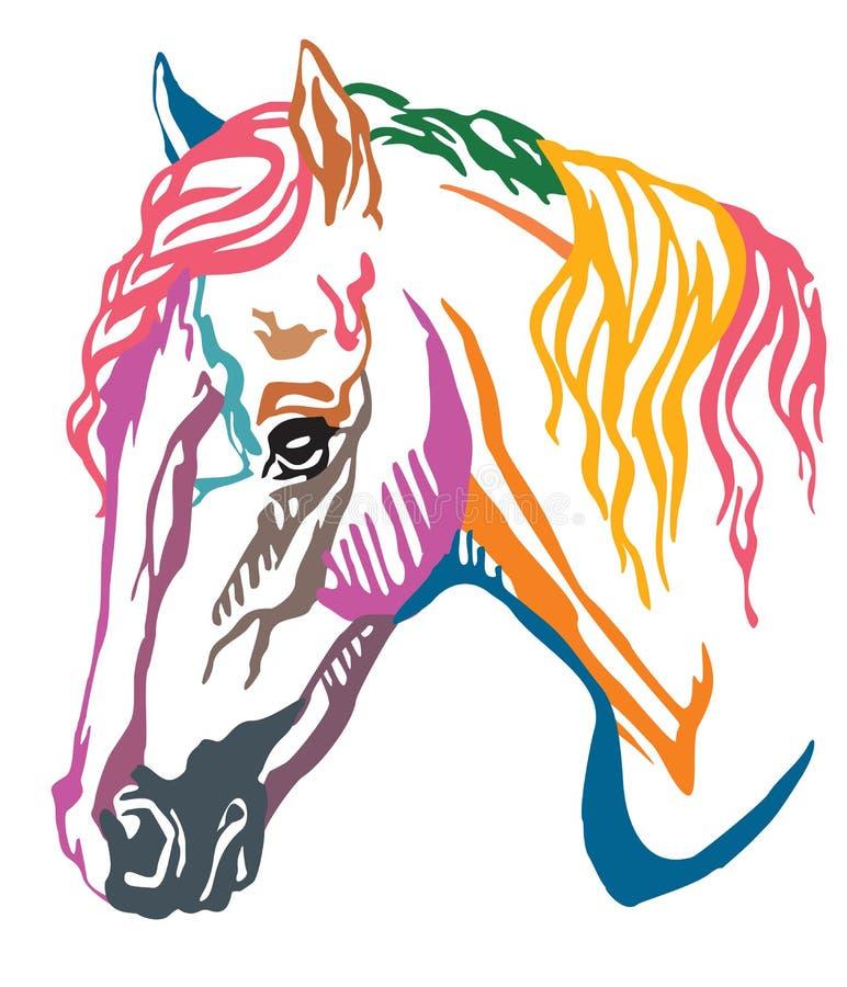 Retrato decorativo colorido da ilustração do vetor do pônei de galês ilustração stock