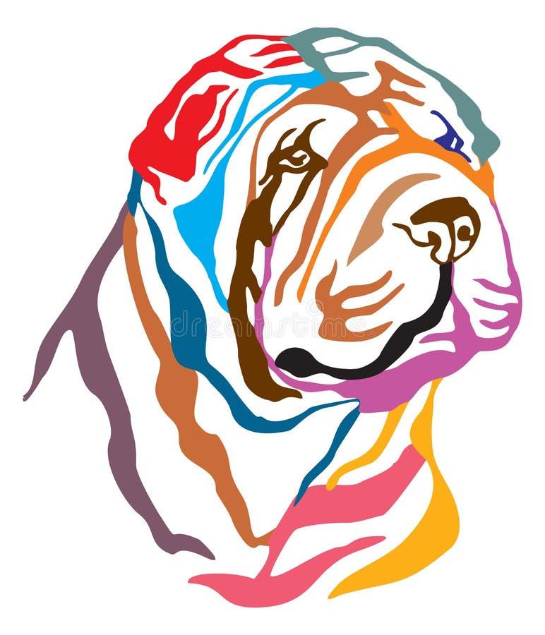 Retrato decorativo colorido del ejemplo del vector de Shar Pei del perro stock de ilustración