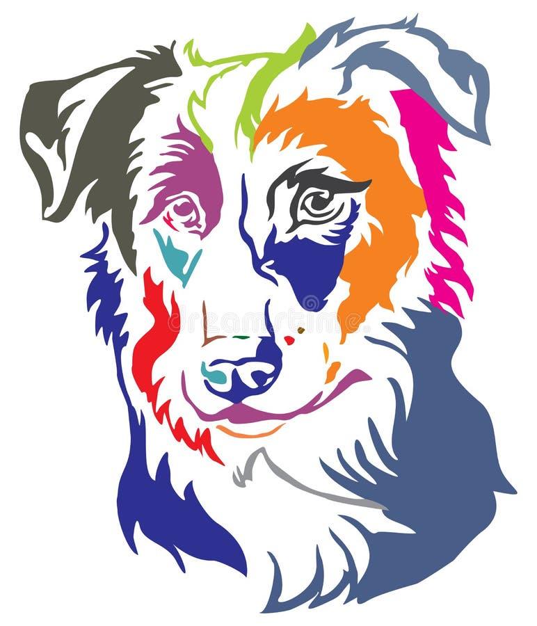 Retrato decorativo colorido del illustr del vector del border collie del perro stock de ilustración