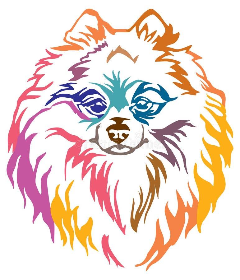 Retrato decorativo colorido do illu do vetor do Spitz de Pomeranian do cão ilustração do vetor