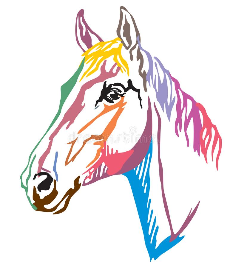 Retrato decorativo colorido do illustr do vetor de Trakehner horse-3 ilustração stock