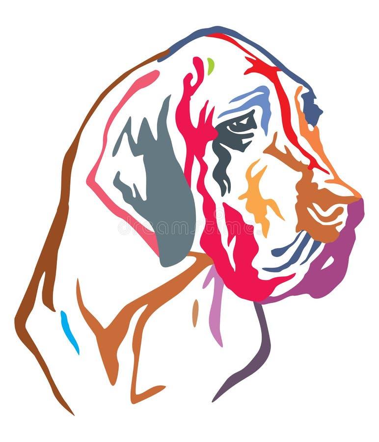 Retrato decorativo colorido do illustrati do vetor de great dane do cão ilustração stock