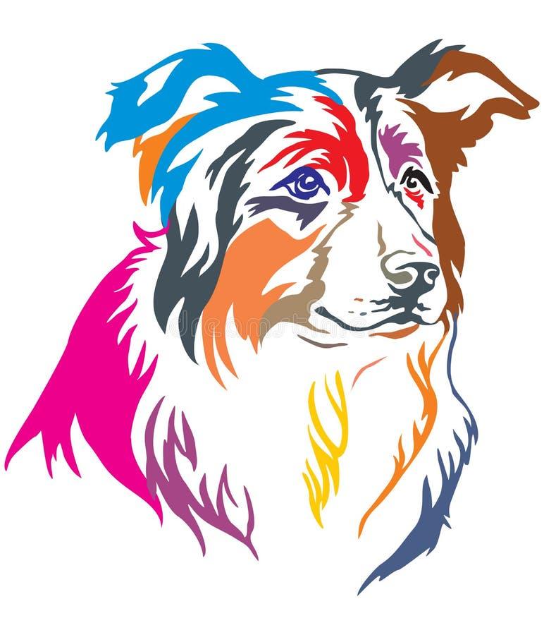 Retrato decorativo colorido do illustratio do vetor de border collie ilustração stock
