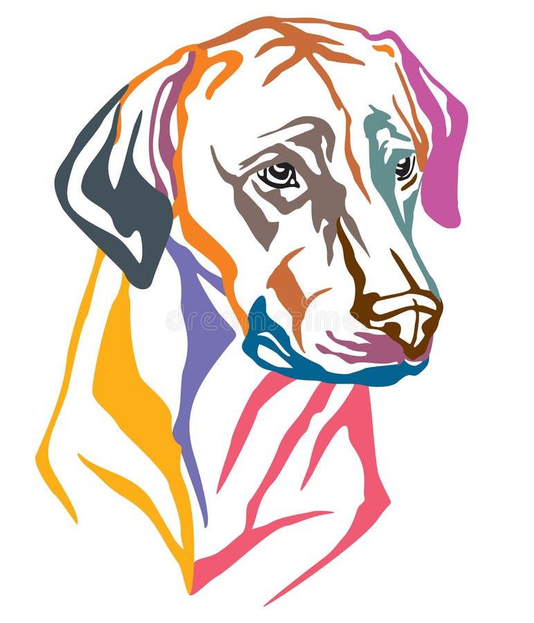 Retrato decorativo colorido do vetor de Rhodesian Ridgeback do cão mim ilustração do vetor