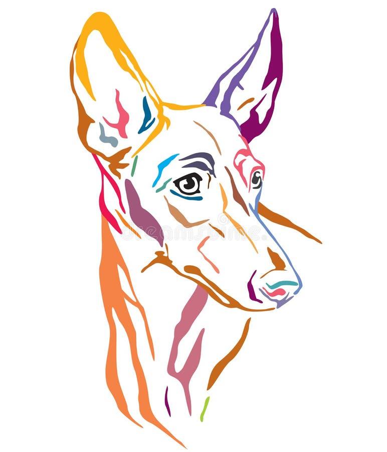 Retrato decorativo colorido ilustração do vetor de Etna Dog do dell de Cirneco ' ilustração do vetor