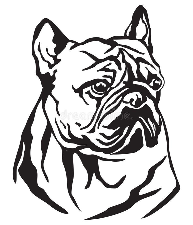 Retrato decorativo da ilustração do vetor do buldogue francês do cão ilustração royalty free