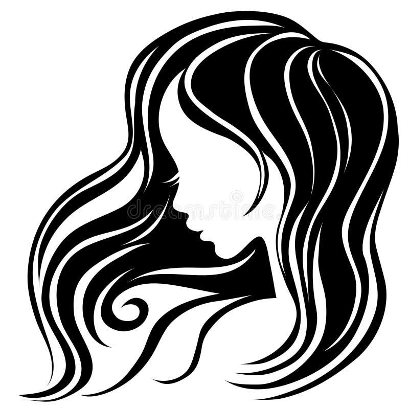 Retrato decorativo da mulher com cabelo longo ilustração do vetor