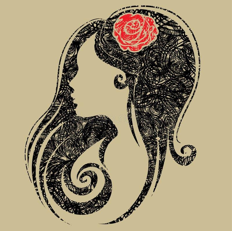 Retrato decorativo do grunge da mulher com flor ilustração royalty free
