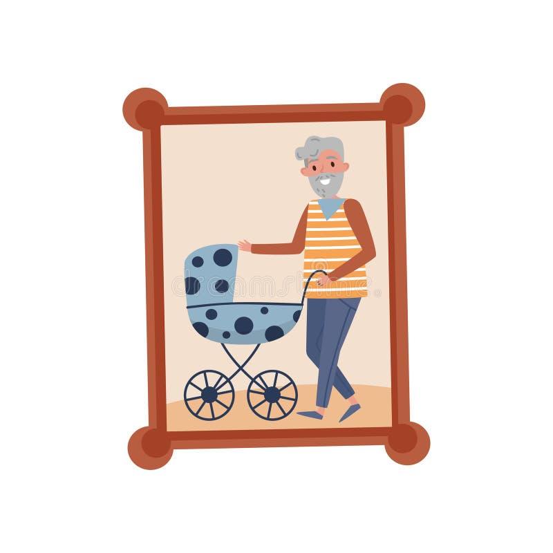 Retrato del abuelo con su nieto en el cochecito, foto de familia en el ejemplo del vector del marco de madera en un blanco ilustración del vector