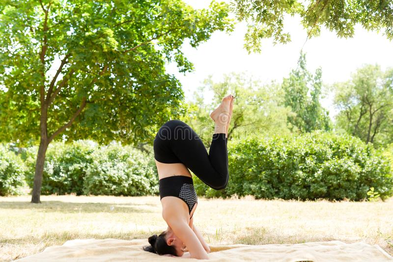Retrato del ajuste y de la mujer joven deportiva que hacen los ejercicios, espacio de la copia Forma de vida sana fotos de archivo libres de regalías