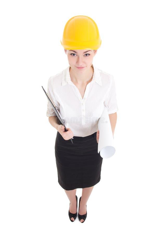 Retrato del arquitecto de la mujer de los asuntos divertidos en hel amarillos del constructor foto de archivo libre de regalías