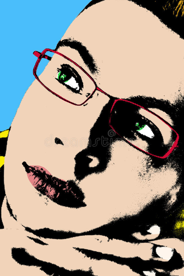Retrato del arte pop de un hombre joven pensativo stock de ilustración