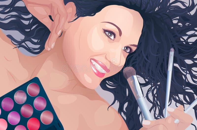 Retrato del artista de maquillaje libre illustration