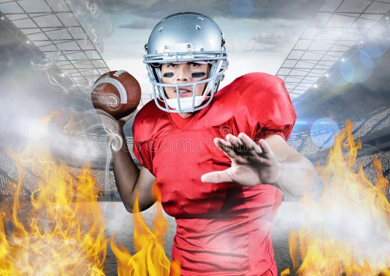Retrato del atleta que juega a fútbol americano entre la llama del fuego stock de ilustración