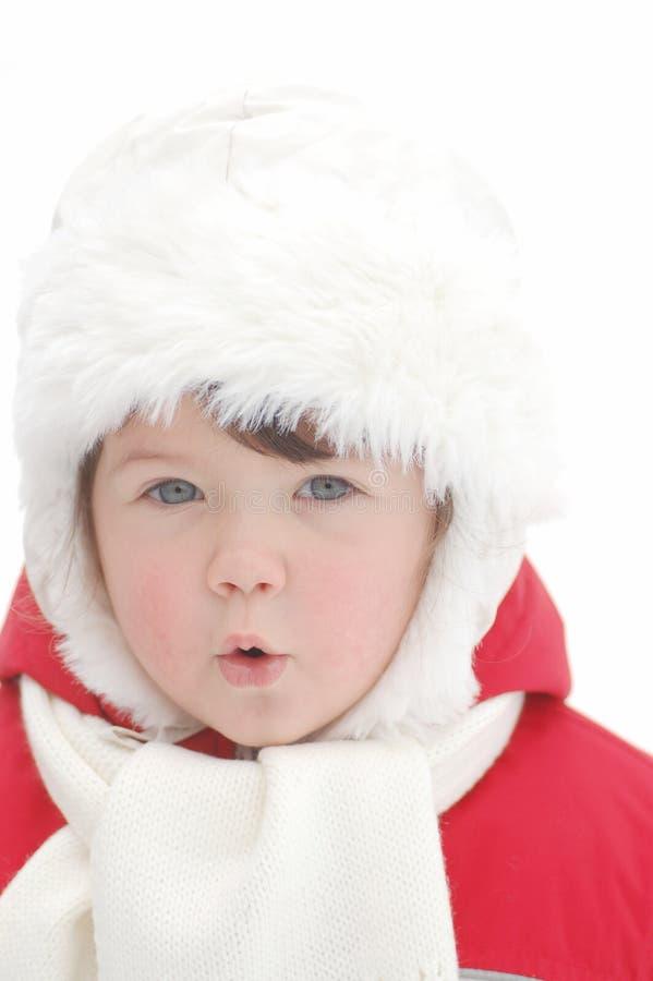Retrato del bebé en invierno fotos de archivo