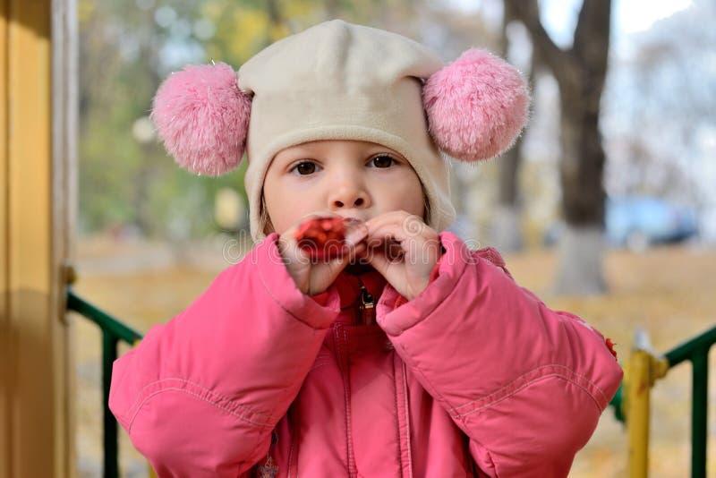 Retrato del bebé en un sombrero con los pom-poms con un juguete foto de archivo