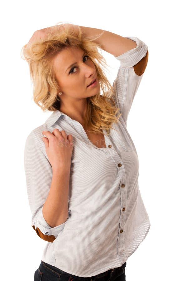 Retrato del blonde joven hermoso, mujer aislada sobre los vagos blancos imágenes de archivo libres de regalías