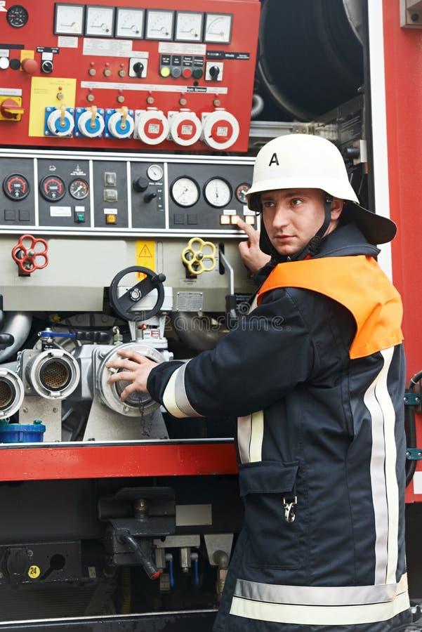 Retrato del bombero de servicio imagen de archivo