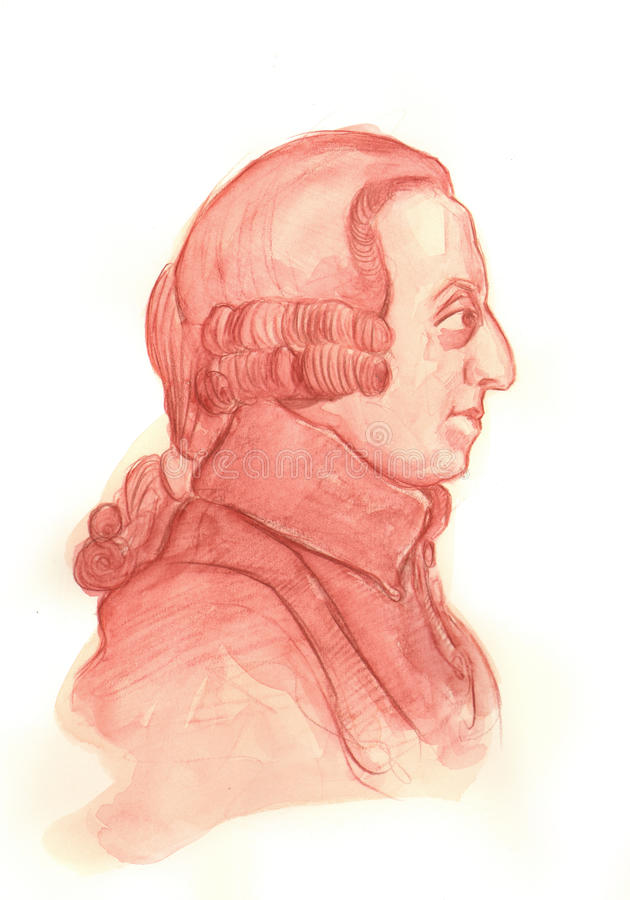 Retrato del bosquejo del Watercolour de Adán Smith ilustración del vector